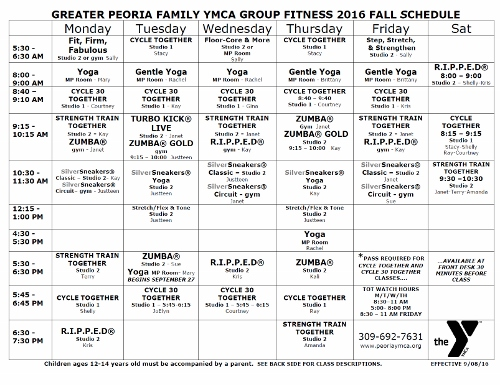 Fall 2016 Group Fitness Schedule